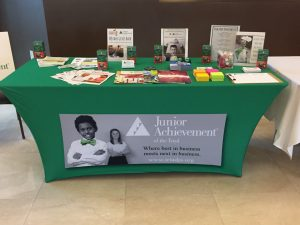 Custom Table Covers trade show junior achievement 300x225